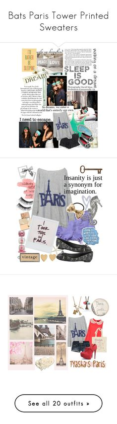 """Bats Paris Tower Printed Sweaters"" by maisiewong ❤ liked on Polyvore featuring tops, sweaters, shirts, blusas, shirt sweater, shirt top, Möve, Pom Pom at Home, Ashley G and PATH"