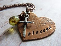 Inspirational Heart Necklace Stamped Blessed by ATwistOfWhimsy, $48.00