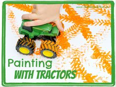 "Since we're focused on ""Farms"" this week, I decided that an appropriate art activity should combine both paint and TRACTORS. This was an easy project to pull together, considering the over-abundance of toy tractors in Harvest Activities, Farm Activities, Autumn Activities, Counting Activities, Farm Animal Crafts, Farm Crafts, Preschool Crafts, Farm Animals, Preschool Farm Theme"