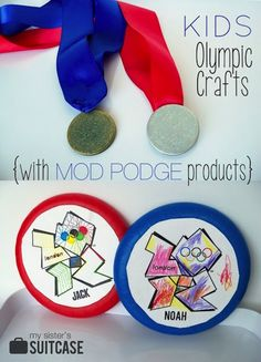Kids Olympic Crafts - DIY Medals and Discus Throw Frisbees by My Sister's Suitca. - Kids Olympic Crafts – DIY Medals and Discus Throw Frisbees by My Sister's Suitcase - Olympics Kids Activities, Kids Olympics, Summer Activities, Vbs Crafts, Camping Crafts, Diy Crafts For Kids, Olympic Crafts, Olympic Games, Olympic Medals