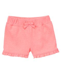 Easy and sweet, our knit ruffle shorts add a touch of girly style to any outfit. Ruffles and bow make this wear-all-day basic as charming as it is comfy and soft.