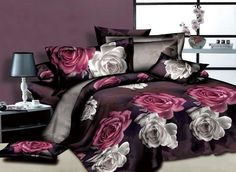 Vibrant and bold these bedding sets are the epitome of unique not to mention beautiful. White and Red Flowers Printed 4 Piece Unique Duvet Covers Bedding Sets Unique Duvet Covers, Bed Duvet Covers, Cheap Bedding Sets, Bedding Sets Online, Unique Bedding, Comforter Sets, Cheap Bed Sheets, Floral Bedding, Purple Bedding