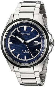 Citizen EcoDrive Mens AW145089L Titanium Watch * Click image to review more details.