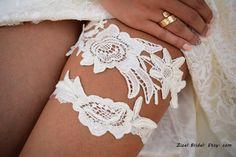 Ivory Wedding Garter Bridal Garter Wedding Garter by ZizelBridal