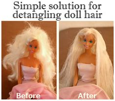 Barbie Hair Fix Barbie Hair Fix. How to easily untangle barbie and doll hair. Barbie Hair Fix, Fix Doll Hair, Baby Doll Hair, New Dolls, Barbie Dolls, Girl Dolls, Doll Hair Detangler, Doll Hair Repair, Everyday Hacks