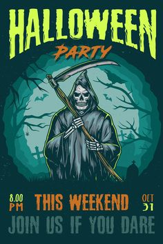 Colorful Halloween Party Poster Design with Skeleton Reaper. Download 21 awesome Halloween designs on www.dgimstudio.com. Perfect to create your own Halloween costume design. 100% vector + editable texts. #halloween #poster #posterdesign #halloweenparty #spooky #vector #vectorillustration #skeleton #reaper