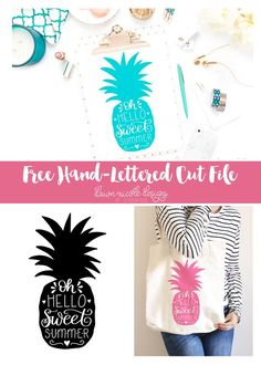 Hand-Lettered Sweet Summer Pineapple Free Cut File | DawnNicoleDesigns.com