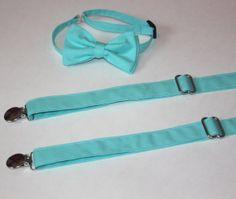 Teal / Aqua Blue Bow Tie and Suspender set  Men by CottonKandyShop, $20.00