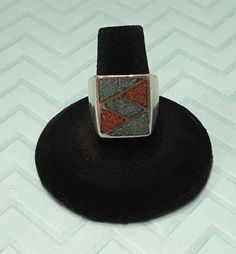 Navajo Men's Sterling Silver ? Crushed Turquoise Coral Ring SZ 8  | eBay