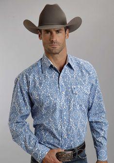 Stetson® Mens Blue Pilagree Paisley Long Sleeve Snap Front Cowboy Shirt