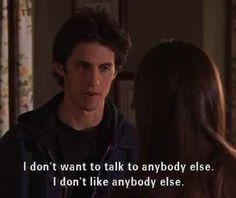 """And made sure Rory knew he wanted them to be super exclusive. 36 Times Jess Mariano Completely Melted Your Heart On """"Gilmore Girls"""" Tv Quotes, Girl Quotes, Movie Quotes, Crush Quotes, Couple Quotes, Tweet Quotes, Dirty Dancing, Mamma Mia, Milo Ventimiglia Gilmore Girls"""