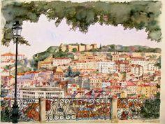 Alcantara's view, watercolour by Vanessa Azevedo