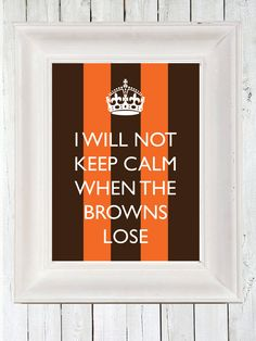 Cleveland Browns Keep Calm Poster A3, Retro Print, Typographic Design on Etsy, $20.00