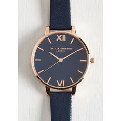 Olivia Burton Menswear Inspired Classic Company Watch ($125) ❤ liked on Polyvore featuring jewelry, watches, roman numeral watches, dial watches, navy watches, navy jewelry and olivia burton watches