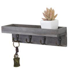 Wooden Key Holder, Wall Key Holder, Diy Key Holder, Key Holders, Rustic Shelves, Wooden Shelves, Key Shelf, Wood Storage Rack, Entryway Shelf