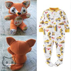 Custom Keepsake Memory Fox: upcycled from your own fabric, baby clothes, baby blanket - Save your baby's favourite sleepers, outfit or blanket forever by having them made into a one of a kind keepsake memory fox!