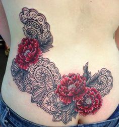 lace and peony tattoo