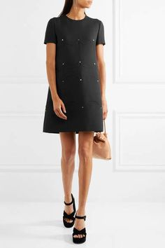 Valentino - Studded Wool And Silk-blend Crepe Mini Dress - Black