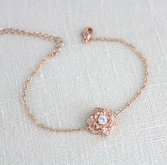 Rose gold bracelet, Bridesmaid bracelet, Bangle bracelet, Dainty Bridal bracelet, CZ bracelet, Charm bracelet, Wedding bracelet, BELLA by treasures570 on Etsy