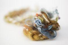 Newborn tieback headband with flower - cream, orange, muted cadet blue, khaki, olive, brown, gold, moss - Garden Collection. $20.00, via Etsy.