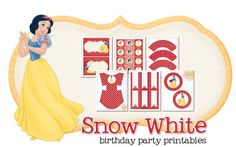 Snow White Birthday Party Freebie - get cupcake wrappers, toppers, fry box, garland, place cards, and 5x7 signs! #disney #disneyprincess #snowwhite