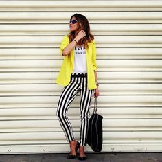 black and white striped pants outfit - Google Search