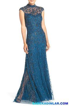 2018 Mavi parlak abiye elbise modelleri