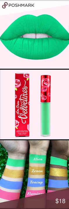 """LIME CRIME VELVENTINES """"ALIEN"""" The liquid matte that started it all. Conceptualized and developed by Lime Crime CEO Doe Deere, Velvetines draw inspiration from her favorite flower - a red, red rose. Doe used to cut out rose petals and paste them onto her lips as a child. Richly pigmented, French vanilla-infused formula glides on as a liquid and dries down to a luxurious, velvety matte finish that lasts for hours and hours. Touch-proof, kiss-proof and utterly addictive!  NO LONGER AVAILABLE…"""