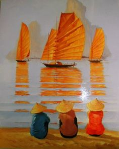 ''Dragons de la baie'' Georges Corominas Plus Acrylic Painting Canvas, Canvas Art, Boat Art, Orange Art, Boat Painting, Indian Art, Figurative Art, Japanese Art, Painting Inspiration