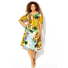Avenue Plus Size Multi Geo Asymmetrical Dress ($20) ❤ liked on Polyvore featuring dresses, green print, plus size, plus size dresses, plus size drop waist dress, plus size long dresses, white drop waist dress and womens plus dresses