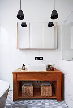By extending up and out, a creative Melbourne couple has turned a dilapidated, century-old dwelling into a contemporary, light-filled family home. Ideal Bathrooms, Contemporary Bathrooms, Beautiful Bathrooms, Contemporary Interior, Timber Bathroom Vanities, Vanity Seat, Black And White Tiles Bathroom, Contemporary Decorative Pillows, Armelle