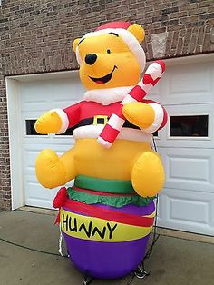 gemmy disney inflatable christmas winnie the pooh w cane 8 ft w box ebay disney - Disney Inflatable Christmas Decorations