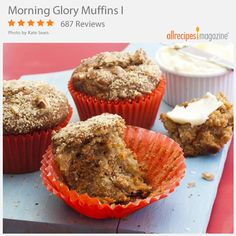 Morning Glory Muffins I | Found in Allrecipes magazine, would you believe Morning Glory Muffins has been saved more than 14,000 times?! This muffin has a bit of everything and is great for breakfast on the go. A perfect start to your day!