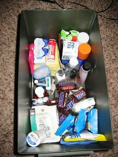 Wedding Day Emergency Kit:  •Bobby pins - always a must for hair prep   •Hair spray   •Touchup makeup   •Clear nail polish   •Tissues   •Baby wipes   •Extra jewelry   •Breath mints   •Nail clippers   •Nail polish remover   •Makeup remover   •Deodorant   •Pain killers - very important   •Antacids   •Band-Aids/first aid kit   •Hand sanitizer   •Water   •Snacks (energy/chocolate)   •Tampons/pads   •Contact lens solution   •Extra contacts   •Allergy medicine   •Q-tips   •Tweezers   •Safety pins   •Needle   •Thread (one for each color of garment)   •Tape   •Umbrellas   •Scissors - Most used item in the kit   •Cash   •Panty hose   •Bleach pen (to cover up stains on the wedding dress)   •Emergency phone numbers   •Chalk/pastels (to cover up stains on the wedding dress)   •White nail polish (to cover up stains on the wedding dress)   •Straws (so you don't ruin your makeup)   •Static guard   •Walkie Talkies - best idea they had! Best Man had one and the maid of honor had one so they could communicate but still keep the bride and groom apart   •Liquor (good for the nerves and the breath)