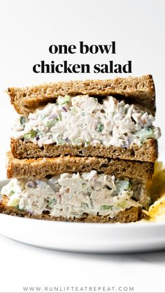 This chicken salad recipe is easy to make, just one bowl, and ready in minutes. Perfect on crusty whole grain bread or with crackers. You& never want store-bought again! Chicken Salad Recipes, Easy Salad Recipes, Low Carb Recipes, Great Recipes, Cooking Recipes, Favorite Recipes, Healthy Recipes, Simple Chicken Salad, Chicken Salad Wraps
