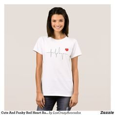 Cute And Funky Red Heart Rate T-Shirt