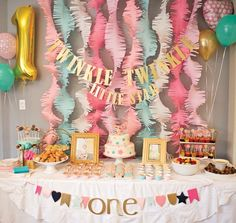 First birthday idea for baby girl. Love the twinkle little star theme!