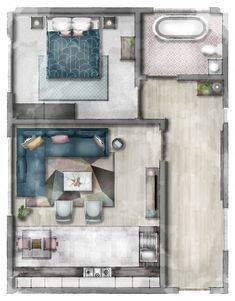 Sketched Floor Plan Watercolour rendered floor plan, created using SketchUp and Photoshop. Interior Architecture Drawing, Interior Design Renderings, Drawing Interior, Interior Rendering, Architecture Design, Interior Design Styles Quiz, Interior Design Sketches, Home Interior Design, Room Sketch