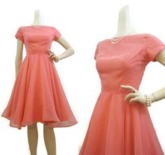 Vintage 50s Dress Pink Chiffon Party Prom Dance by voguevintage #50s #rockabilly #pink #dress #circleskirt