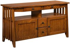 A lovely representation of Arts and Crafts furniture design, the Amish made Monclova TV Stand boasts superior storage options and refined, handcrafted details.
