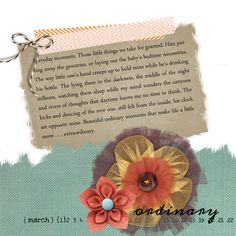 The Beautiful Ordinary - scrapbooking a #FiveMinuteFriday post. My first attempt at art or poetry journaling/scrapbooking.
