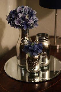 krylon looking glass spray paint on mason jars. Mason jars are overplayed. Mason Jars, Bottles And Jars, Mason Jar Crafts, Bottle Crafts, Glass Bottles, Bottle Vase, Home Crafts, Fun Crafts, Krylon Looking Glass