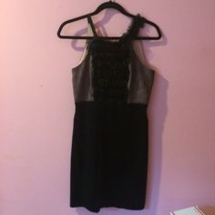 BCBGMAXAZRIA Black Ruffle Dress Like new, worn once. Size 4. Perfect for fancy parties and events. Has a cream mesh underneath the Ruffles on the top half of the dress. Dress hits at the knees. No trades, pp, or m. Open to Reasonable offers through button only. BCBGMaxAzria Dresses