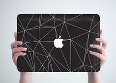 Laptop Case Black Geometry Macbook Cover Apple by RealDesignRocks