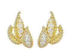 18K Yellow Gold & Diamond Leaf Motif Estate Earrings