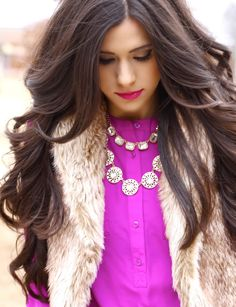 www.thesweetestthingblog, The Sweetest Thing Blog, Emily Gemma, leopard and latte, faux fur vest, brown faux fur vest, pinterest faux fur, pinterest radiant orchid, radiant orchid, bauble bar necklace, jcrew necklace, jcrew inspired necklace, bellami hair extensions, jbrand jeans, nude pumps, steve madden nude pumps, style blog