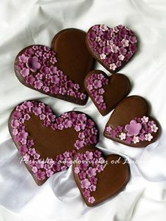 Chocolate Heart Cookies~      pernickyodLucky, Purple, Flowers
