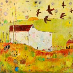 "Cottage and Morning Swifts 31.5""x31.5"" acrylic on canvas"