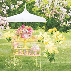 Set your table with the lovely pastel hues of cherry blossoms and daffodils, the first flowers of the year. Lemon Party, Outdoor Dinner Parties, Wine Tasting Party, Dream Party, Spring Party, Midsummer Nights Dream, Lollipops, Christmas And New Year, Daffodils
