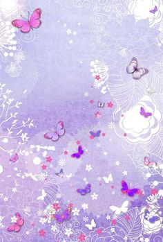 Pink floral borders pink floral frames ppt backgrounds for Lilac butterfly wallpaper